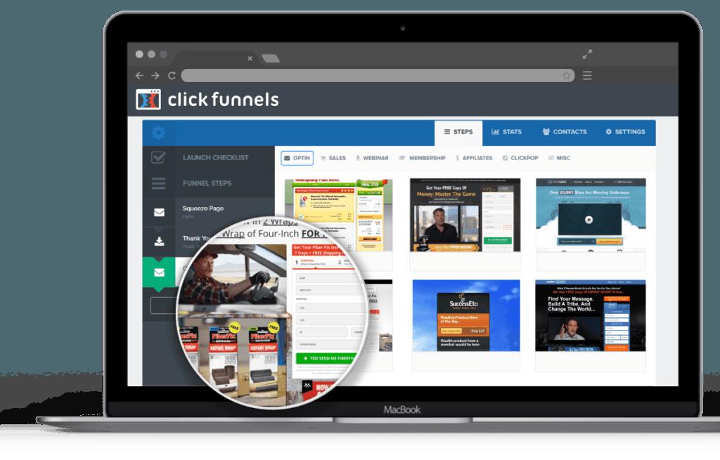 Interface de travail ClickFunnels avec ici quelques templates