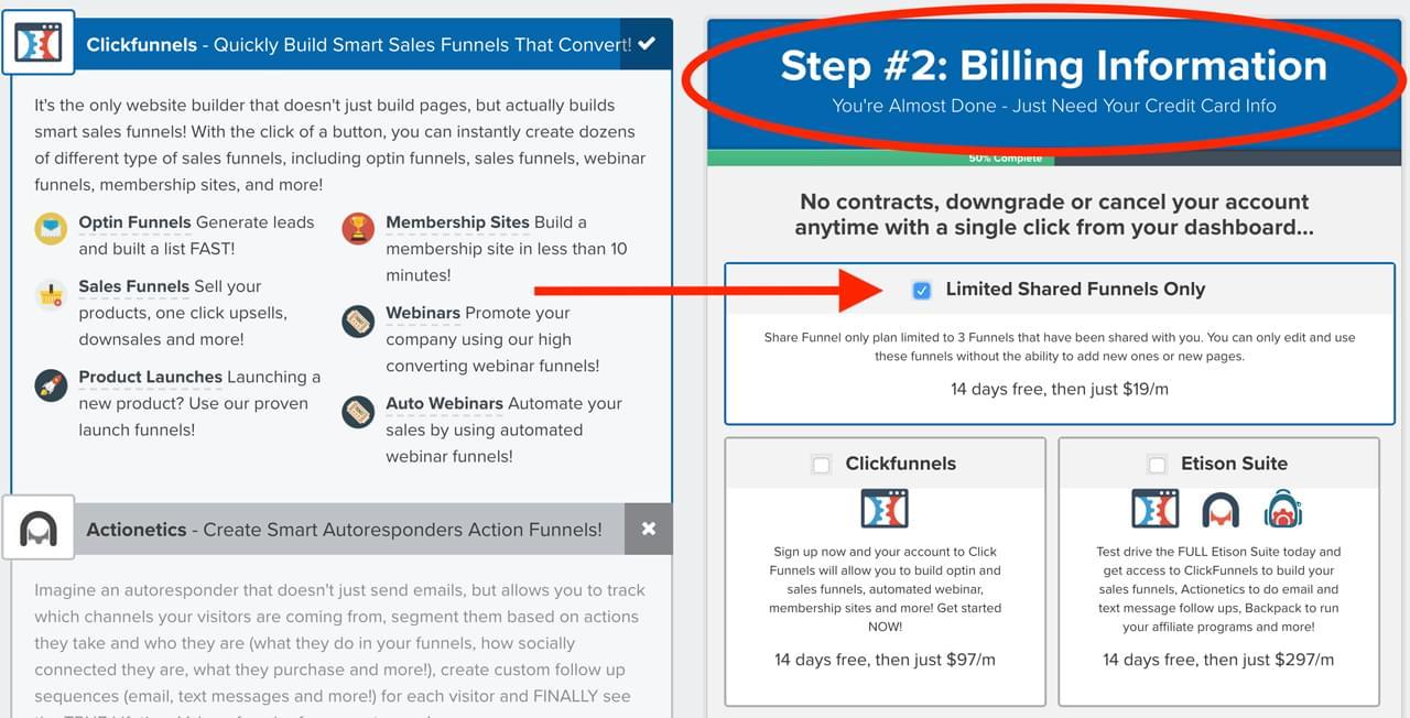 ClickFunnels à 19$ par mois en utilisant un Share Funnels