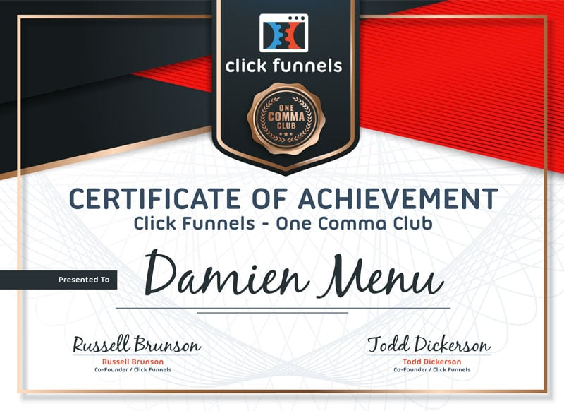 Diplôme One Comma Club de ClickFunnels du One Funnel Away !