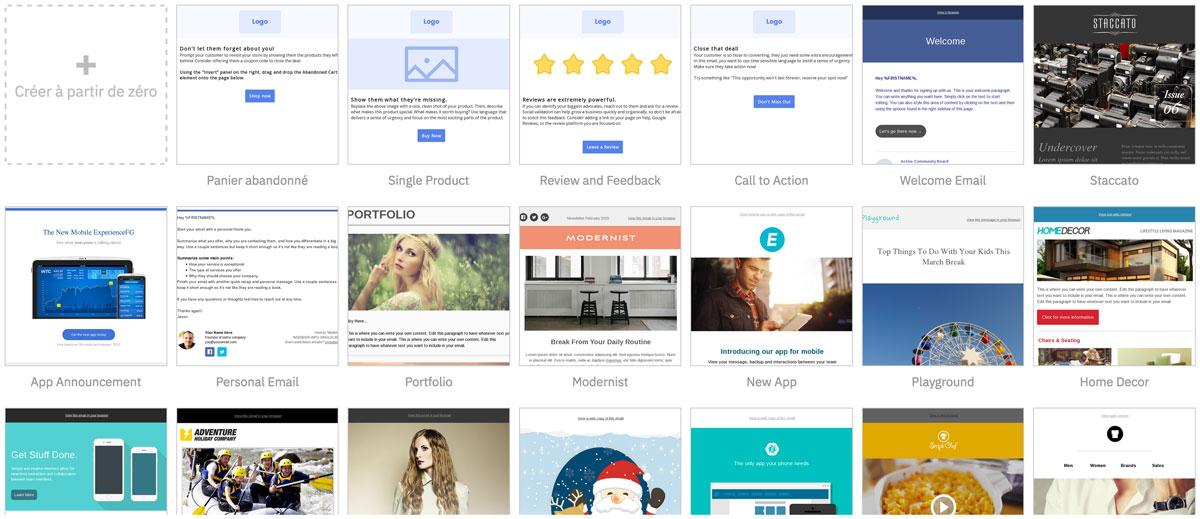 ActiveCampiagn a de nombreux templates disponibles gratuitement pour vos emails.