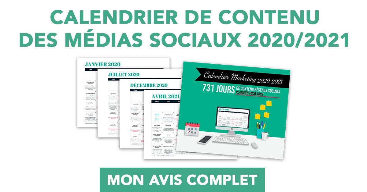 Calendrier éditorial 2021 Calendrier de publication sur les réseaux sociaux 2020/2021