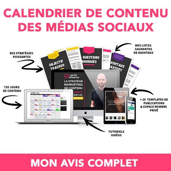 Calendrier de contenu des médias sociaux 2020/2021 : mon avis sur cet outil de publication sur les réseaux sociaux (Social Influence) 1