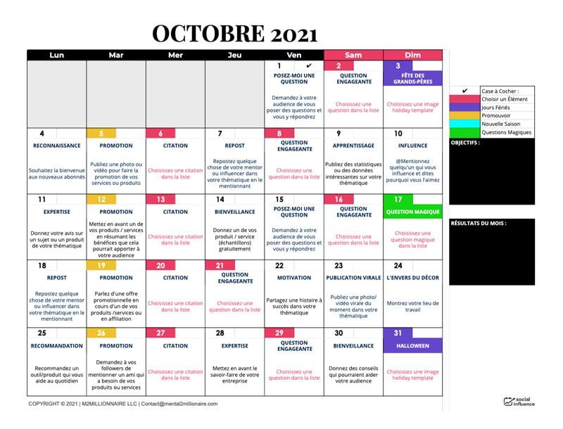 Exemple du calendrier de publication sur les réseaux sociaux