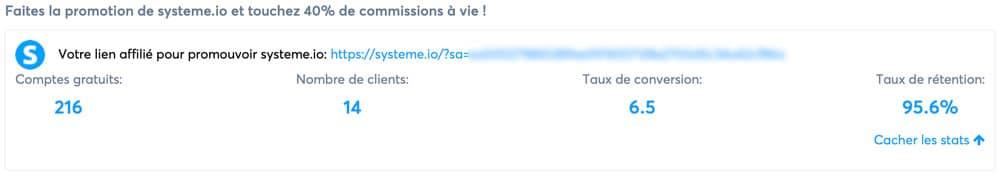 Affiliation Systeme.io : Dashboard du programme avec son lien personnel.